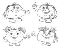 Ställ in tecknade filmen som ler handväskaöversikten royaltyfri illustrationer