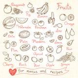 Ställ in teckningar av frukt för designmenyer, recept Royaltyfri Foto