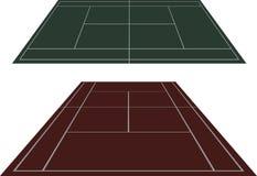 Ställ in tennisbanor i perspektiv Arkivfoto