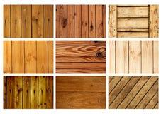 Ställ in texturer av gamla träbräden Royaltyfri Foto