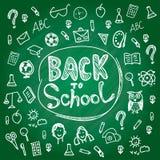 Ställ in tillbaka till skolan Svart tavlakrita skissar vitt Fotografering för Bildbyråer