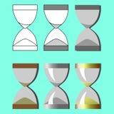Ställ in timglaset i olika stilar på en blå bakgrund Fotografering för Bildbyråer