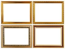 Ställ in träfotoramen för guld- tappning isolerad på vit Sparad intelligens Arkivbilder