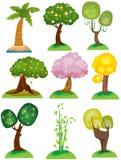 ställ in trees Arkivfoton