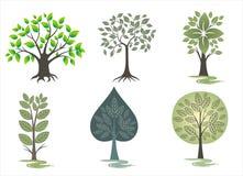 ställ in trees Royaltyfri Foto