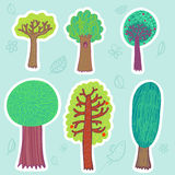 ställ in trees Arkivfoto