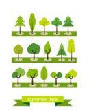ställ in trees Plan design Sommarträdsymboler Redigerbar vektoruppsättning Royaltyfri Fotografi