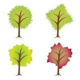 ställ in treesvektorn Arkivbilder
