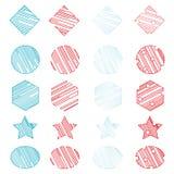 Ställ in 20 universella geometriska former r?d och bl? f?rg stock illustrationer