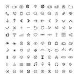 Ställ in universella moderna symboler, tunn linje royaltyfri illustrationer