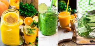 Ställ in uppfriskande sunda drinkar detoxen ingav vatten och smoothies för collage från frukter och grönsaker Citrus, pumpa, gurk arkivfoton