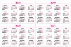 Ställ in väggkalendern 2018, 2019, 2020, 2021 rastermall Arkivbilder