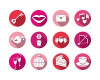 Ställ in valentindagknappar, vektortecken Arkivbilder