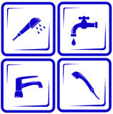 Ställ in vattenförsörjningvattenkranblandaren, klappet, ventilsymbol Arkivfoto