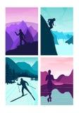 Ställ in vektorbakgrund med den polygonal landskapillustrationen med royaltyfri illustrationer