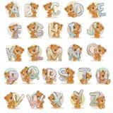 Ställ in vektorbokstäver av det engelska alfabetet med den roliga nallebjörnen Arkivfoton