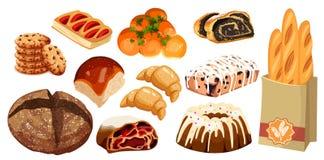 Ställ in vektorbrödsymboler Råg, helt korn och vetebröd, kringla, muffin, giffel, bagel, fransk bagett, körsbär Arkivfoto