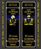 Ställ in vektordesignbiljetten på ett halloween parti med pumpor, skelettet, katten, stearinljus, lampan, huset, slagträn och spi Arkivbilder