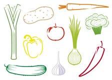 ställ in vektorgrönsaker Royaltyfri Bild