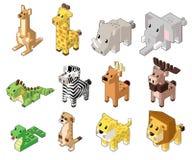 Ställ in vektorillustrationen av gulliga isometriska djur stock illustrationer