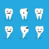 Ställ in vektorillustrationen sund och för karies för mänskliga tänder blå bakgrund Arkivfoto