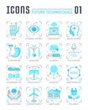 Ställ in vektorlinjen lägenhetsymboler av framtida teknologier Royaltyfri Bild