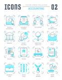 Ställ in vektorlinjen lägenhetsymboler av redovisningen Royaltyfri Foto