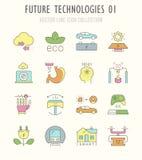 Ställ in vektorlinjen Retro plana symboler av framtida teknologier vektor illustrationer
