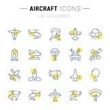 Ställ in vektorlinjen symboler av flygplan royaltyfri illustrationer