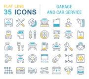 Ställ in vektorlinjen symboler av garage- och bilservice royaltyfri illustrationer
