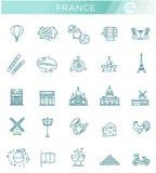 Ställ in vektorlinjen symboler i den plana designen Frankrike Royaltyfri Foto