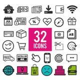 Ställ in vektorlinjen symboler i plan design med beståndsdelar för mobila begrepp och rengöringsdukapps Modern infographic logo f stock illustrationer