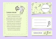 Ställ in vektorn av kortmallar med blom- beståndsdelar för affärskort, inbjudningar, kort konturlinjer flakonchikov för skönhetsm royaltyfri illustrationer