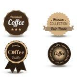 Ställ in vektorn av tappning som den retro kaffedrycken förser med märke och etiketter Shoppa logodesignmallar som isoleras på vi royaltyfri illustrationer