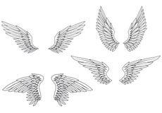 ställ in vingar royaltyfri illustrationer