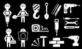 Ställ in vita objekt för konstruktionsbransch Arkivfoton