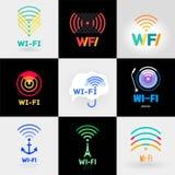 Ställ in Wi-Fi och en logoklistermärke Royaltyfri Foto