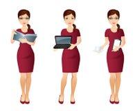Ställ in yrkeassistenten i röd klänning vektor illustrationer
