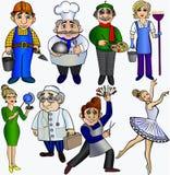 Ställ in yrkefolk Dansare för doktor för konstnär för ballerina för frisör för kock för lärarebyggmästarerengöringsmedel Royaltyfria Bilder
