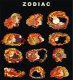 ställ in zodiac royaltyfri illustrationer