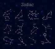 Ställ in zodiaktecken, bakgrund för natthimmel som är realistisk stock illustrationer