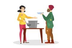 Ställa upp som frivillig den hemlösa mannen för matning Hj?lp och service stock illustrationer