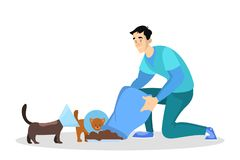 Ställa upp som frivillig katten och hunden för matning den hemlösa Id? av v?lg?renhet royaltyfri illustrationer