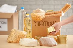 Ställa upp som frivillig samla mat in i donationasken fotografering för bildbyråer