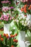 Ställa ut med nya buketter av tulpan i vaser arkivfoto