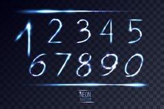 Ställde abstrakta linsnummer in för neon på genomskinlig bakgrund 1 Vect Royaltyfri Illustrationer