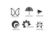 Ställde den abstrakta fjärilen in för vektorn, paraplyet, pilen, rundan, cirkeln, stjärnan, symboler för virvelformlogo för föret stock illustrationer
