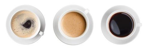 Ställde den bästa sikten in för kaffekoppen isolerat royaltyfria foton