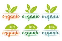 100% ställde den organiska logoen in i olika färger med växt- sidor vektor illustrationer