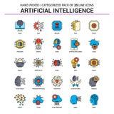 Ställde den plana linjen in symbol för konstgjord intelligens - affärsidéen Ic royaltyfri illustrationer